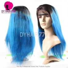 130% Density Lace Front Wig Color 1B/Vivid Blue Ombre Straight Hair Virgin Human Lace Wig
