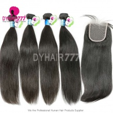Best Match 4*4 Top Lace Closure With 4 or 3 Bundles Peruvian Silky Straight Hair Standard Virgin Remy Hair Extensions