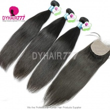 Best Match 4*4 Silk Base Closure With 3 or 4 Bundles Standard Virgin Remy Hair Peruvian Silky Straight Hair Extensions