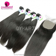 Best Match Silk Base Closure With 4 Bundles Peruvian Silky Straight Hair Standard Virgin Remy Hair Extensions