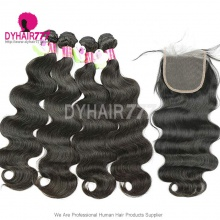 Best Match 4*4 Top Lace Closure With 3 or 4 Bundles Standard Virgin Hair Malaysian Body Wave Human Hair Extenions