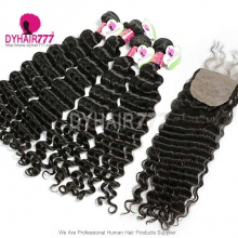 Best Match 4*4 Silk Base Closure With 4 or 3 Bundles Standard Virgin Malaysian Deep Wave Human Hair Extensions
