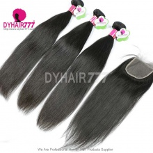 Best Match 4*4 Top Lace Closure With 3 or 4 Bundles Standard Virgin Remy Hair Malaysian Silky Straight Hair Extensions