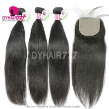 Best Match 4*4 Silk Base Closure With 3 or 4 Bundles Standard Virgin Remy Hair Malaysian Silky Straight Hair Extensions