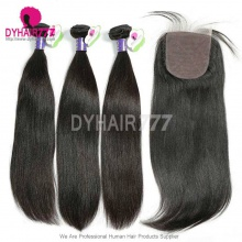 Best Match 4*4 Silk Base Closure With 3 or 4 Bundles Standard Virgin Remy Hair Cambodian Silky Straight Hair Extensions