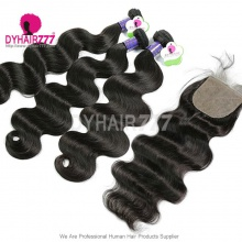 Best Match 4*4 Silk Base Closure With 3 or 4 Bundles Standard Virgin Hair Cambodian Body Wave Human Hair Extenions
