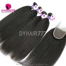 Best Match Royal 3 or 4 Bundles Cambodian Virgin Hair Kinky Straight With 4*4 Top Lace Closure Hair Extensions