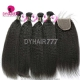 Best Match Royal 3 or 4 Bundles European Virgin Hair Kinky Straight With Top Lace Closure Hair Extensions