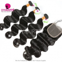 Best Match 4*4 Top Lace Closure With 4 or 3 Bundles Standard Virgin Hair Indian Body Wave Human Hair Extenions