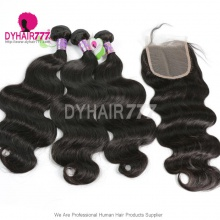 Best Match 4*4 Top Lace Closure With 4 or 3 Bundles Standard Virgin Hair Mongolian Body Wave Human Hair Extenions