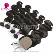 Best Match 4*4 Silk Base Closure With 4 Bundles Mongolian Body Wave Standard Virgin Hair Human Hair Extenions