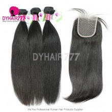 Standard Best Match Top Lace Closure 5*5 With 3 or 4 Bundles Remy Virgin Malaysian Straight Hair