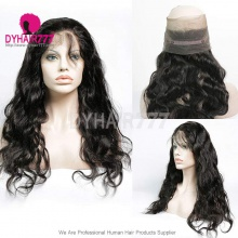 360 Lace Band Frontal Bleached Knots Virgin Human Hair Body Wave With Baby Hair