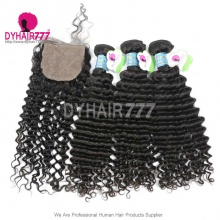 Best Match 4*4 Silk Base Closure With 3 /4 Bundles Peruvian Deep Curly Standard Virgin Human Hair Extensions