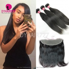 Lace Frontal With 3 Bundles Malaysian Silky Straight Hair Standard Virgin Remy Hair Extensions