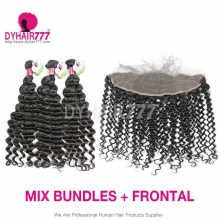 Lace Frontal With 3 Bundles Malaysian Deep Wave Standard Virgin Human Hair Extensions