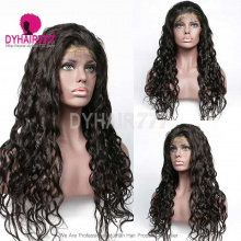 1B# Top Quality Virgin Human Hair Natural Wave Lace Frontal Wigs