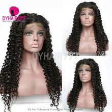 1B# Top Quality Virgin Human Hair Italian Curly Lace Frontal Wigs