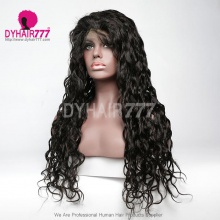 1B# Top Quality Virgin Human Hair Natural Wave Full Lace Wigs Natural Color