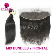 Lace Frontal With 3 Bundles Indian Silky Straight Hair Standard Virgin Remy Hair Extensions
