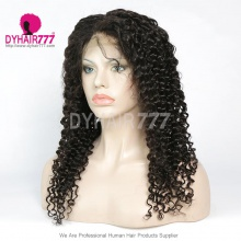 1B# Top Quality Virgin Human Hair Italian Curly Full Lace Wigs Natural Color