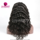 1B# Royal Virgin Human Hair Loose Wave Lace Front Wigs With Bangs