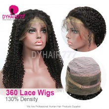 360 Lace Frontal Wig Pre Plucked Virgin Human Hair Deep Curly 130% Density 360 Lace Wig