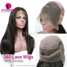 360 Lace Wig 180% Density Virgin Human Hair Straight Hair Pre Plucked