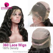 360 Lace Wig 180% Density Virgin Human Hair Body Wave Pre Plucked