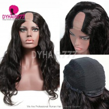 130% Density #1B Virgin Human Hair U Part Wigs Body Wave Lace Front Wig