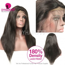 180% density Top Quality Virgin Human Hair Straight Hair Lace Front Wigs