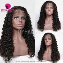 1B# Top Quality Virgin Human Hair Deep Wave Lace Frontal Wigs
