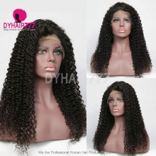 1B# Top Quality Virgin Human Hair Deep Curly Lace Frontal Wigs