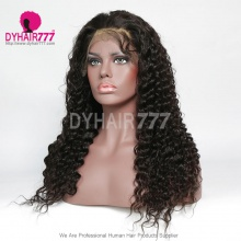 1B# Top Quality Virgin Human Hair Deep Wave Full Lace Wigs Natural Color