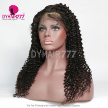 1B# Top Quality Virgin Human Hair Deep Curly Full Lace Wigs Natural Color