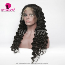 1B# Top Quality Virgin Human Hair Loose Wave Full Lace Wigs Natural Color