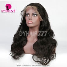 1B# Top Quality Virgin Human Hair Body Wave Full Lace Wigs Natural Color