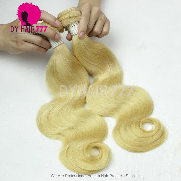 European Virgin Human Hair Weave Wavy 1 Bundle Color 613 Bleach
