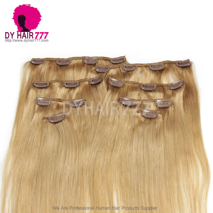 Light Brown Color 27 Clip In Hair Extensions 100 Human Hair