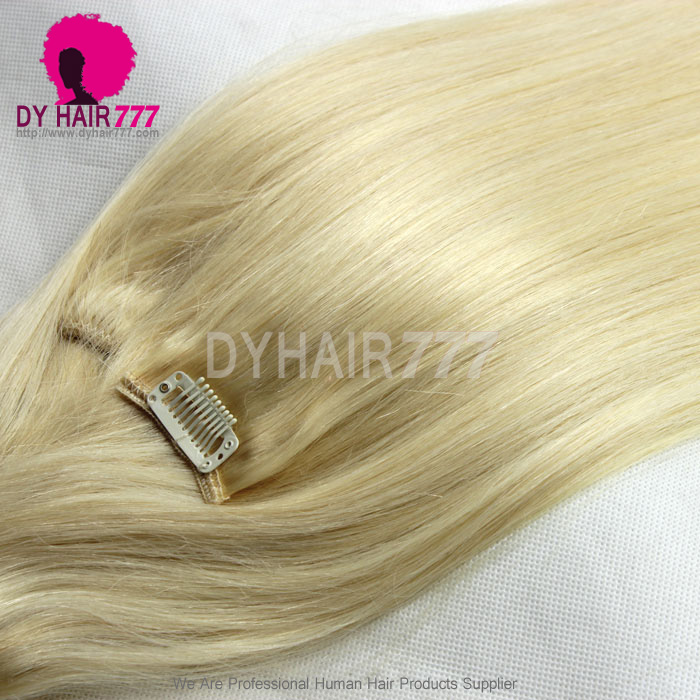 Blonde Color 613 Clip In Hair Extensions 100 Human Hair Virgin