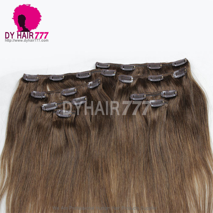 Brown Color 4 Clip In Hair Extensions Straight 100 Human Hair