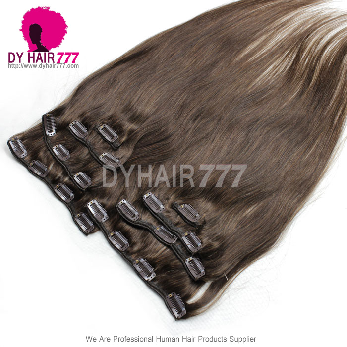 Color 2 Brown Clip In Hair Extensions Straight 100 Virgin Hair