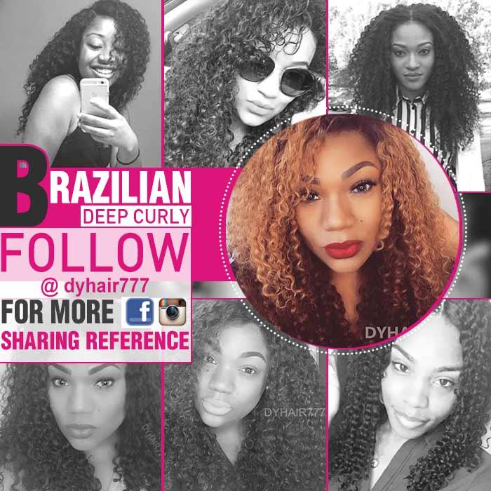 Royal Brazilian Virgin Deep Curly Hair Extensions Natural Color
