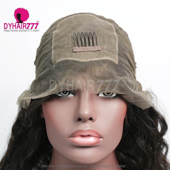 130 Density Human Hair Silk Base Top Closure Full Lace Wigs Body Wave Natural Color