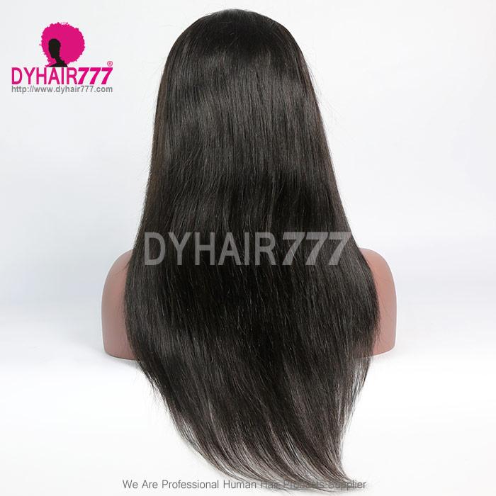 1b Royal Virgin Human Hair Straight Hair Lace Front Wigs With Bangs