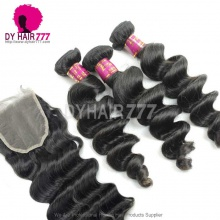 Best Match Top Lace Closure With 3 or 4 Bundles Brazilian Loose Wave Royal Virgin Human Hair Extensions