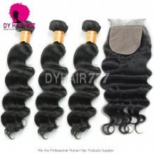 Best Match 4*4 Silk Base Closure With 3 or 4 Bundles Burmese Loose Wave Standard Virgin Human Hair Extensions