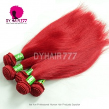 Amazing Red Color European Remy Hair Extensions 1 Bundle Silk Straight Fashion Style