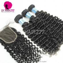 Best Match Top Lace Closure With 3 or 4 Bundles Peruvian Deep Curly Royal Virgin Human Hair Extensions