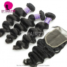 Best Match Top Lace Closure With 3 or 4 Bundles Mongolian Loose Wave Standard Virgin Human Hair Extensions